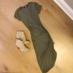 Lulus XS green dress with slit.